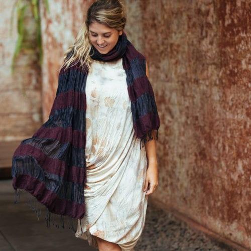 band felted wrap: maroon wool, black silk